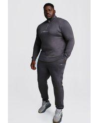 BoohooMAN Big And Tall Trainingsanzug mit Trichterkragen und halbem Reißverschluss - Grau