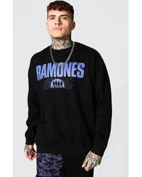 BoohooMAN Oversized Ramones License Sweatshirt - Black