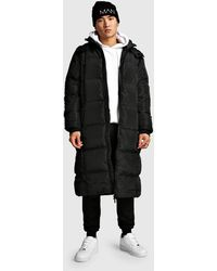 BoohooMAN Wattierte Longline-Jacke mit Reißverschlüssen - Schwarz