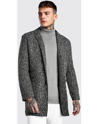 BoohooMAN Salt And Pepper Wool Check Overcoat - Gray