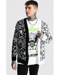 BoohooMAN Spliced Bandana Knitted Cardigan - Blanc