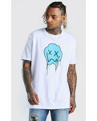 BoohooMAN T-Shirt coupe oversize imprimé Drip Face - Blanc