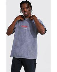 BoohooMAN Oversized Overdye Anti Social Print T-shirt - Grey
