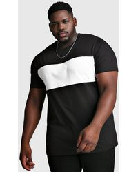 BoohooMAN Big And Tall Longline Colour Block T-Shirt - Noir