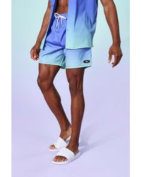 BoohooMAN Ombre Mid Length Trunks - Blue