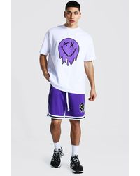 BoohooMAN Oversized Drip Face T-Shirt And Mesh Shorts Set - Lila