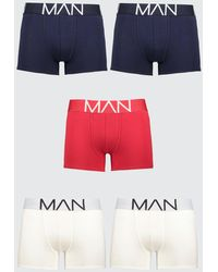 BoohooMAN 5 Pack Man Boxers In Mixed Colours - Red