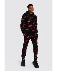 BoohooMAN All Over Red Man Print Hooded Tracksuit - Black