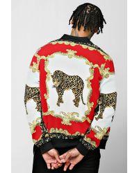 BoohooMAN - Baroque Leopard Print Bomber Jacket - Lyst