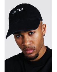 BoohooMAN Acid Wash Offcl Cap - Black