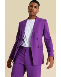 BoohooMAN Skinny Double Breasted Suit Jacket - Violet