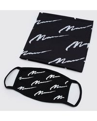 BoohooMAN Man Script All Over Snood And Fashion Mask - Black