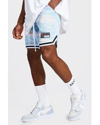 BoohooMAN Man Marble Mesh Basketball Tape Shorts - Lila