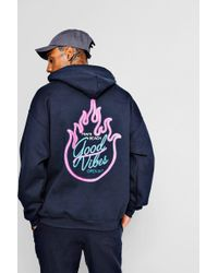 Boohoo - Oversized Neon Flames Back Print Hoodie - Lyst