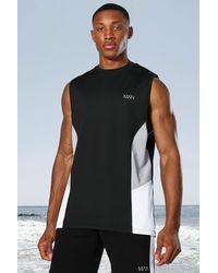 BoohooMAN Man Active vesttop mit seitlichem Blockdesign - Schwarz