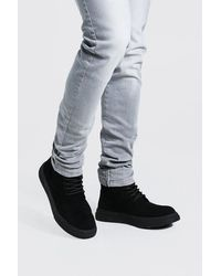 BoohooMAN Chunky Sole Lace Up Boot - Black