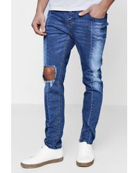 Boohoo - Skinny Fit Ripped Knee Panelled Seam Jeans - Lyst