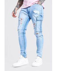 BoohooMAN Skinny Stretch Rip & Repair Biker Cargo Jeans - Bleu