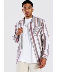 BoohooMAN Long Sleeve Striped check Overshirt - Blau