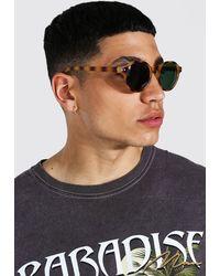 BoohooMAN Runde Plastik Sonnenbrille - Braun
