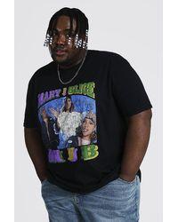 BoohooMAN Plus Size Mary J Blige License T-shirt - Black