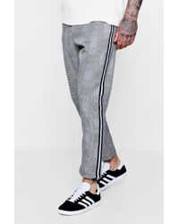 Boohoo - Smart Check Jogger With Side Taping - Lyst