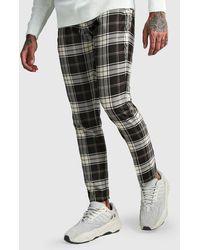 BoohooMAN Tartan Ankle Zip Detail Smart Trouser - Gris