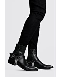 BoohooMAN Faux Leather Tape Harness Cuban Chelsea Boots - Black