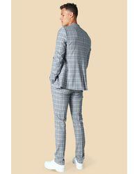 BoohooMAN Tall einreihige karierte Skinny Anzugjacke - Grau