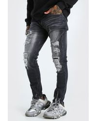 BoohooMAN Super Skinny All Over Distressed Jeans - Noir