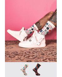 BoohooMAN 2er-Pack Monogram Jacquard-Socken - Pink