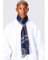 BoohooMAN Checked Woven Scarf - Blue