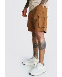 BoohooMAN Elastic Waist Cargo Short - Brown