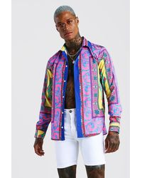 BoohooMAN Long Sleeve Bright Baroque Print Shirt - Multicolor