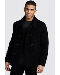 BoohooMAN Classic Wool Look Pea Coat - Black