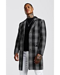 BoohooMAN Check Wool Look Overcoat - Schwarz