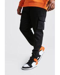 BoohooMAN Plus Size Utility Pocket Cargo Jogger Trousers - Black