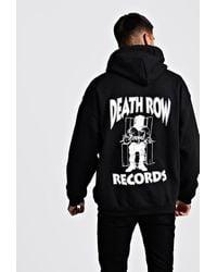BoohooMAN Oversized Death Row License Hoodie - Black