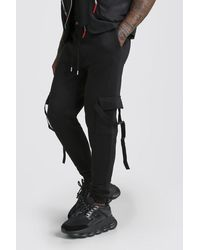 BoohooMAN Man Signature Slim Fit Cargo Jogger With Buckle - Black