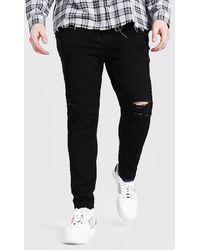 BoohooMAN Plus Size Raw Hem Skinny Jean - Black