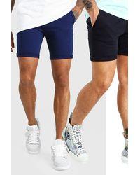 BoohooMAN Lot de 2 shorts chino skinny - Bleu