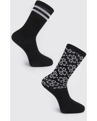 BoohooMAN 2 Pack Printed Sock - Black