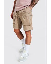 BoohooMAN Lockere Man Cargo-Shorts mit 3D Tasche - Natur