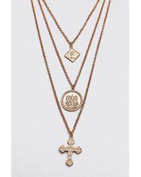 BoohooMAN Triple Layer Pendant Necklace - Metallic