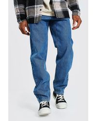 BoohooMAN Steife Relaxed-Fit Jeans - Blau