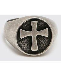 BoohooMAN Cross Detail Signet Ring - Metallic