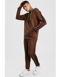 BoohooMAN Man Signature Scuba Hooded Tracksuit With Tape - Brown