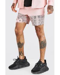 BoohooMAN Bandana Panel Twill Shorts - Pink