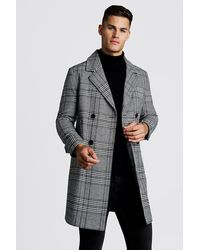 BoohooMAN Check Double Breasted Wool Mix Overcoat - Black