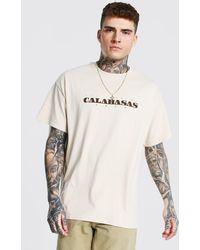 BoohooMAN Oversized Calabasas Graphic T-shirt - Natural